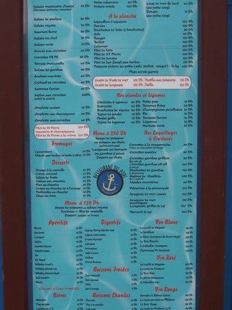 Sam's Restaurant : La carte de Chez Sam