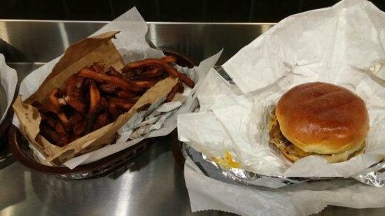 American wild burger: Cajun fries with chicken philly burger