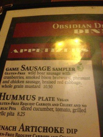 Obsidian Dining Room: Sausage sampler
