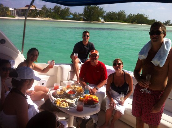 Stingray Watersports: Lunch and champagne on our rum point charter, fantastic
