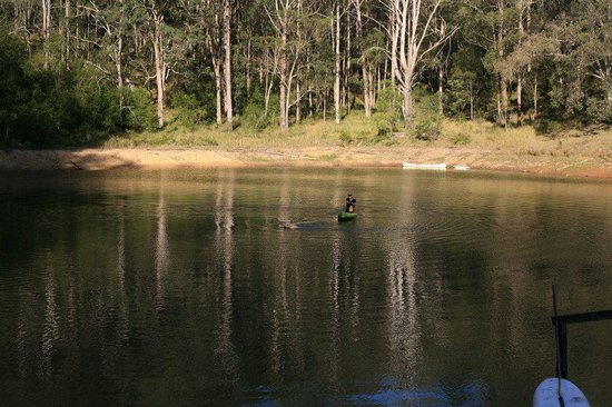 Kayaking across the dam at Mystwood