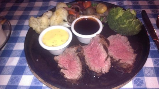 The Angus Barn: My husband & I got the Chateaubriand for two, this is my portion