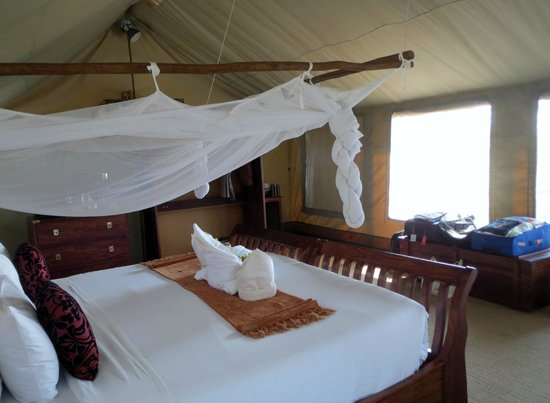 Linyanti Bush Camp- African Bush Camps: huge bed in tent, which is great in the really hot weather