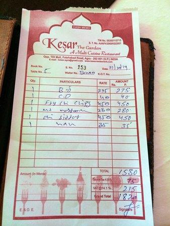 Kesar Restaurant Agra: Note pour 2 personnes