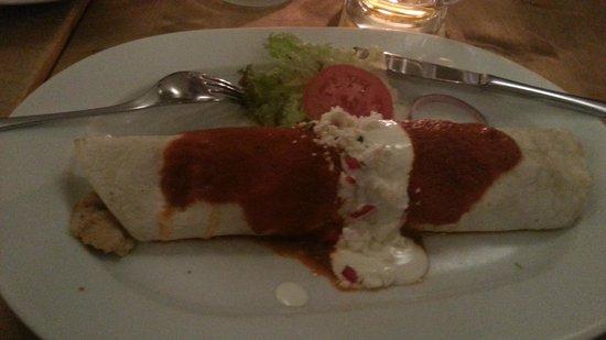 Pancho: Chicken Burrito with Tomato Sauce