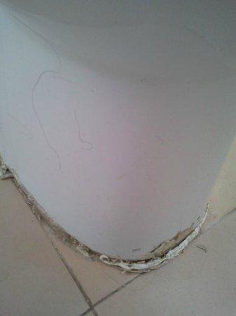 Almonsa Playa: sanitario y suelos de baño muy sucios