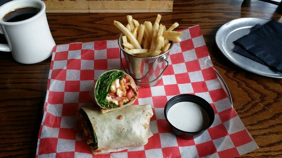 Whiskey Kitchen: Chicken wrap and fries.