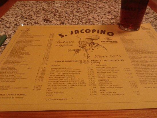 San Jacopino Trattoria Pizzeria: tovaglietta