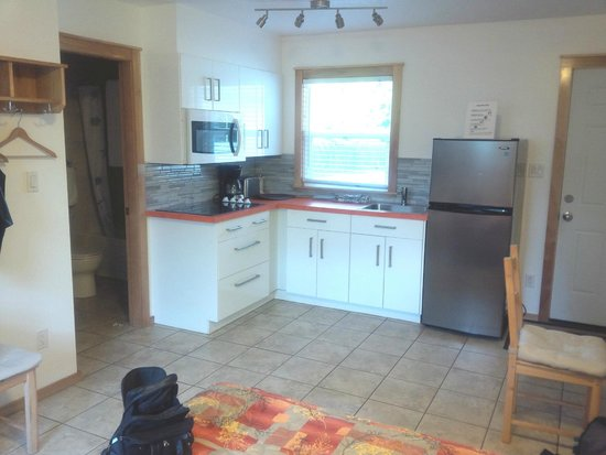 Canyon Court Motel: Perfect kitchen with full sized fridge and microwave and ceramic cook top