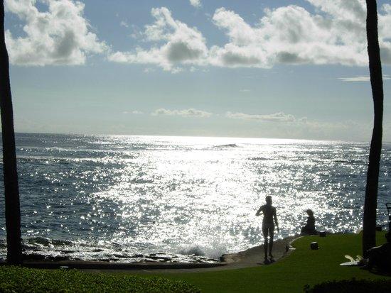 Lawai Beach Resort : View from beach across street from resort