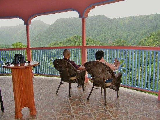 Calabash Mountain Villa: Contented guest enjoying the balcony of Calabash Villa