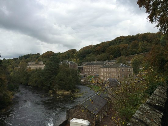 New Lanark World Heritage Village: view back up the valley