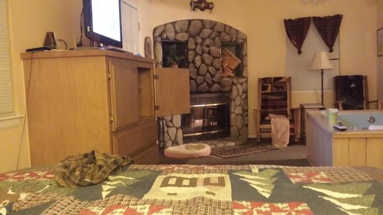 Pine Knot Guest Ranch: Living room, fireplace, jacuzzi, TV AMAZING
