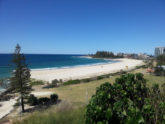 Kirra Hill: Coolangatta Beach is closest to the lone pine tree, Greenmont Beach is just before the group of