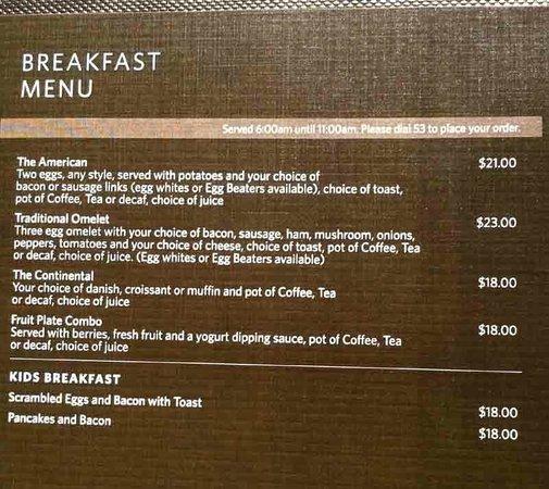 Hilton Parsippany: Room Service Menu Page 1