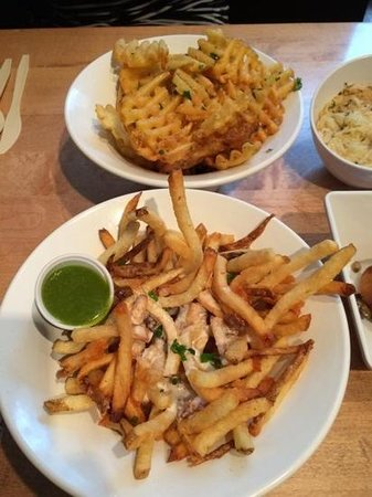 Franks n' Dawgs: Triple truffle fries and Cheese fries