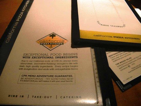 menu - picture of california pizza kitchen, santa monica - tripadvisor