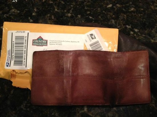 Country Inn & Suites By Carlson, Appleton: They sent my son's wallet left behind in room!
