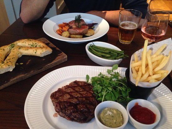 Cote Brasserie - Bristol Clifton Village: Ribeye Steak and Lamb- beautifully cooked and presented!