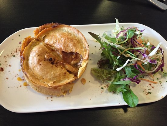 The Dizzy Witch Cafe: The pie is served warm & with a nice portion of salad