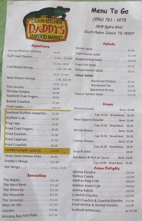 Daddy's Seafood & Cajun Kitchen: La carta / The menu
