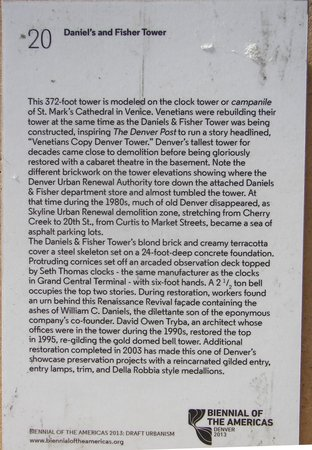 Daniels and Fisher Tower: Building Plaque