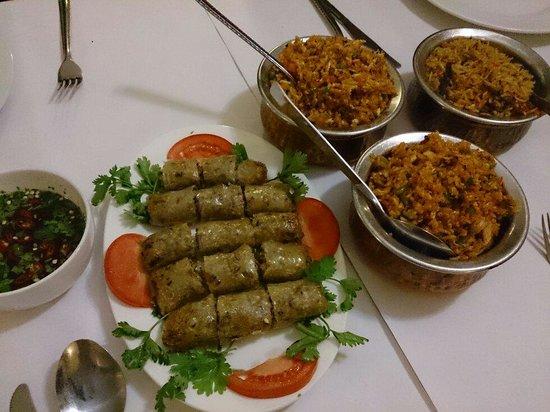 Little India: Spring rolls, mutton beryani & spicy chicken fried rice.