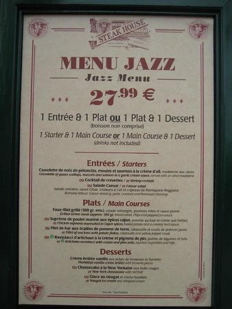 The Steakhouse : Menu Jazz. October 2014