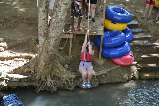 Braco Adventure Tours: Rope Swing towards the end of the float
