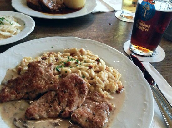 Gasthaus Isarthor: the dish was recommended by our waiter and of course, a pint of augustiner