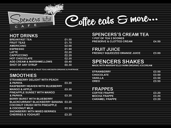 Sample Menu  Picture Of SpencerS Cafe London  Tripadvisor