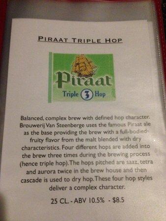 The Globe - Belgian GastroPub: The description of the Piraat Triple Hop