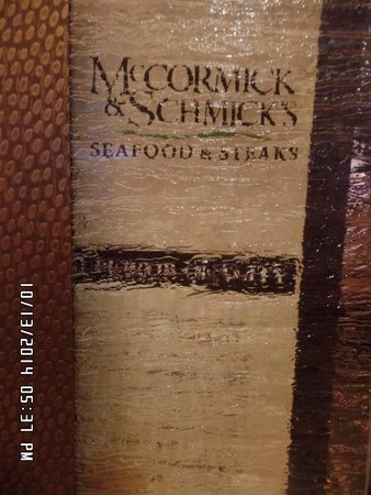 McCormick & Schmick's Seafood & Steaks: The menu cover looks like glass very cool