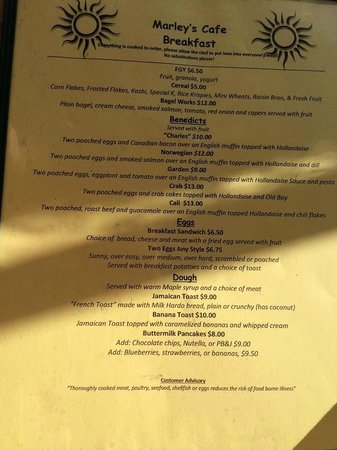 Marley S Cafe Dinner Menu