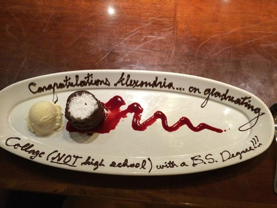 Roy's - Bonita Springs : This is what Jason wrote on my daughter's dessert plate after she graduated college.
