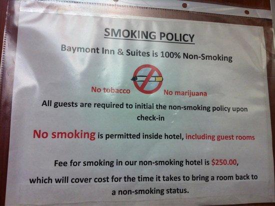 Baymont Inn Suites Denver International Airport Warning Notice In Elevator