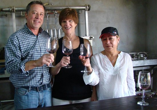 Valley Girl Wine Tours: Winemaker Mario Benson with guests at his winery, Montaño Benson