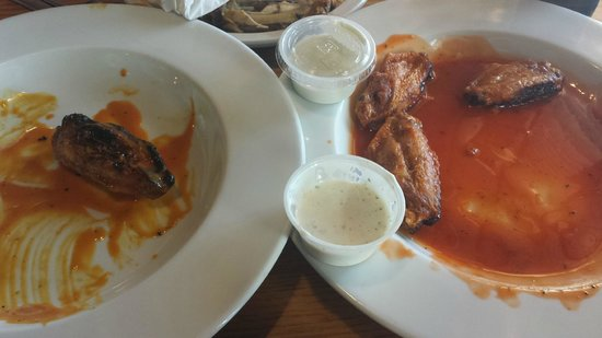 Duckworth's Grill & Taphouse: Carolina Gold & Bold and Hot Wings (what's left of them!)