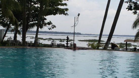 The World Backwaters: swimming pool with backwaters in background