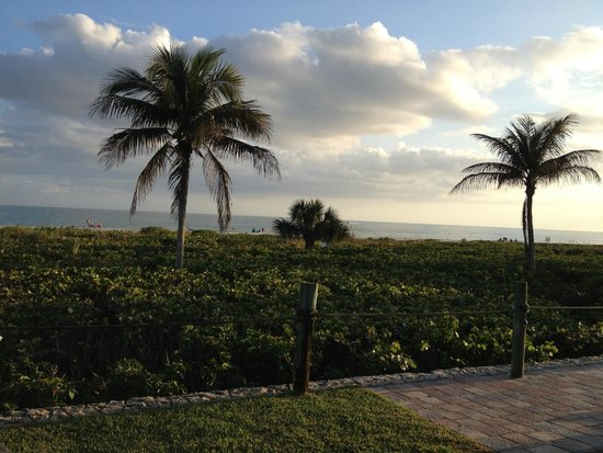 Sanibel Arms Condominiums: Looking out our door at sunset.