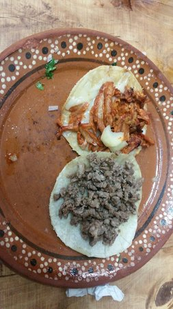 Pancho's Takos: Volcan ( adobada in a tostada with cheese ) a Must try! And taco de bistec
