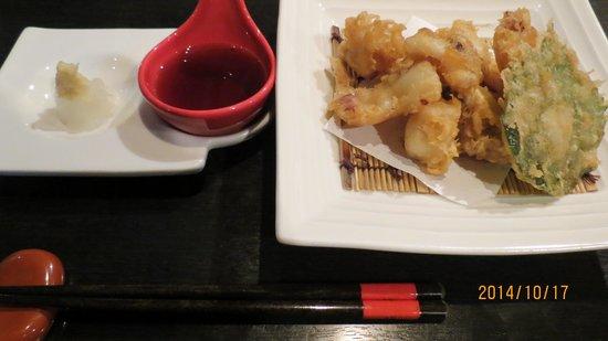 Hotel Wing International Shimonoseki : 夕食メニュー一例 たこ天ぷら
