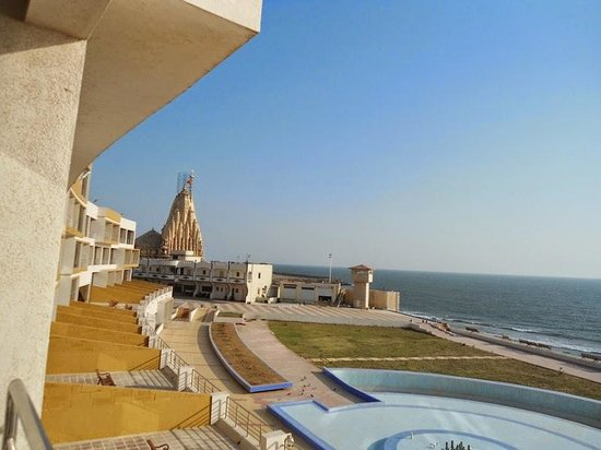 Somnath Mahadev Temple And Arab Sagar As Seen From Hotel Balcony
