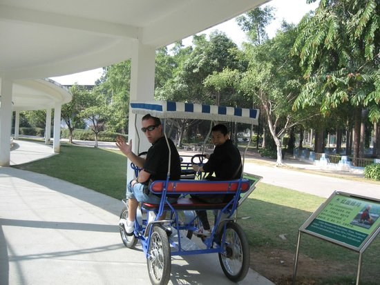 Nanning Zoo: Kids on a trike  -  good way to get around