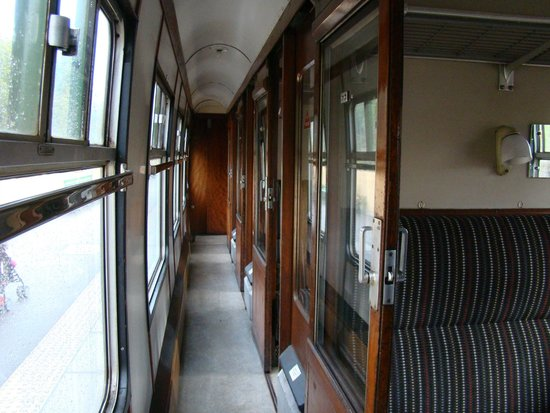 The teak wood cabins of the Bluebell Railway