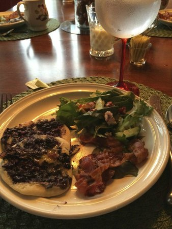 Jesse Harlow House: A special fresh amazing blueberry pancake with bacon and more!