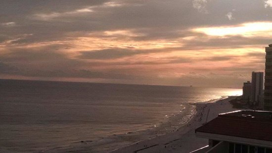 The Lighthouse Condominiums: Beautiful sunset from balcony.