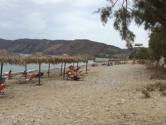 Leonidas: The beach of the Hotel (sun beds are free for hotel guests)