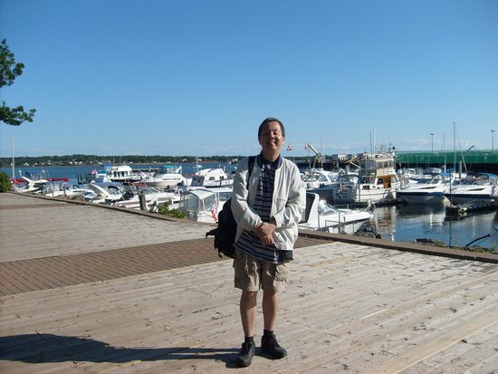 On the Peake's Quay boardwalk at the waterfront near Founders' Hall