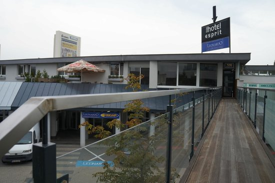 Entrance to Hotel Esprit via elevated walkway